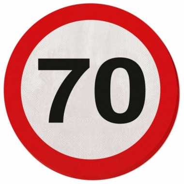20x papieren servetjes 70 jaar verkeersbord thema feestartikelen 33 r