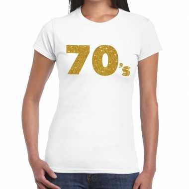 70's goud glitter t shirt wit dames