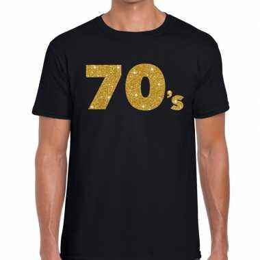70's gouden glitter tekst t shirt zwart heren
