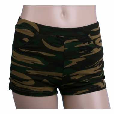 70s style high waist hotpants camouflage print