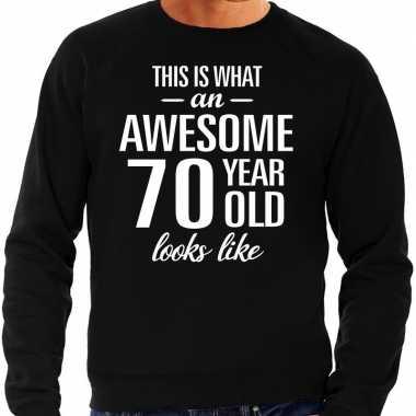 Awesome 70 year / 70 jaar cadeau sweater zwart heren