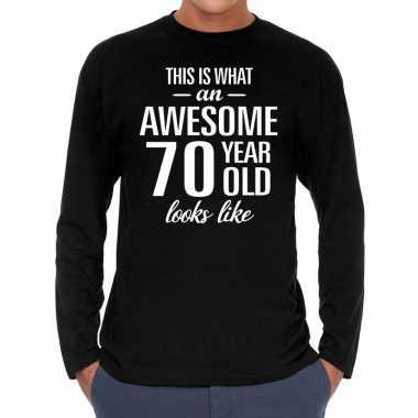 Awesome 70 year / 70 jaar cadeaushirt long sleeves zwart heren