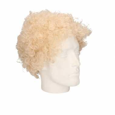 Feest 70s blonde krullen/afro pruik volwassenen