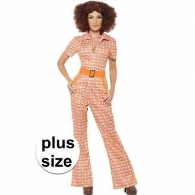 Grote maten oranje jaren 70 kleding dames