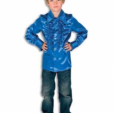 Satijnen kleding kobaltblauw jongens
