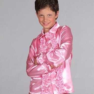 Satijnen kleding roze kinderen