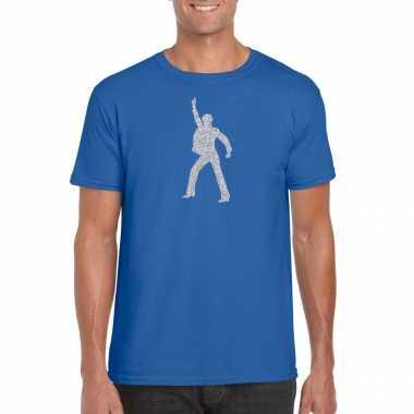Zilveren disco t shirt / kleding blauw heren