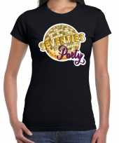 Party70s feest-shirt disco thema zwart dames